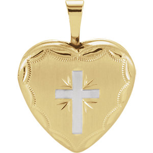 Gold Plated & Sterling Silver Heart Cross Locket