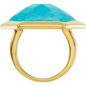 18K Yellow Vermeil Turquoise Ring Size 6