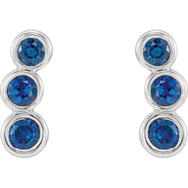 Sterling Silver Imitation Blue Sapphire Ear Climbers