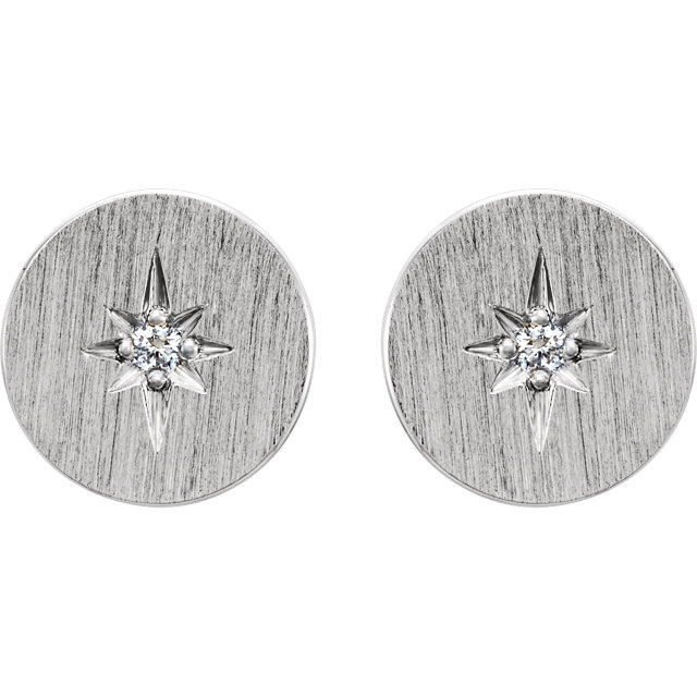 14K White .02 CTW Diamond Earrings