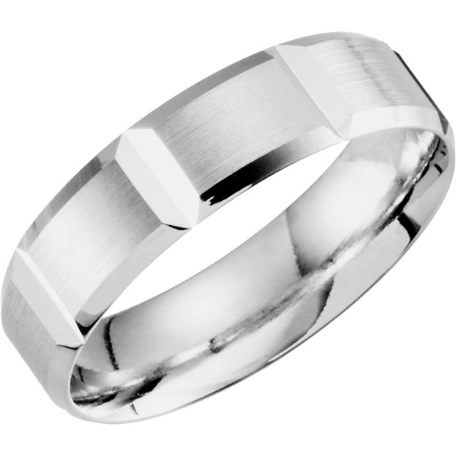 10K White 6 mm Lightweight Grooved Beveled Band Size 10