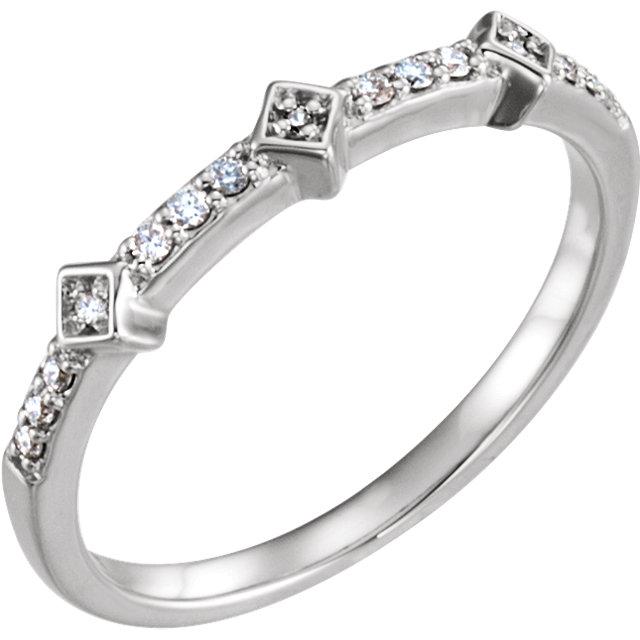 14K White 1/10 CTW Diamond Stackable Ring
