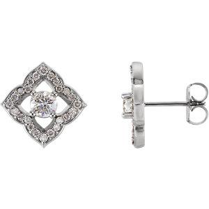Earrings , Platinum 3/4 CTW Diamond Halo-Style Clover Earrings