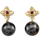 Tahitian Cultured Pearl &  Ruby Earrings