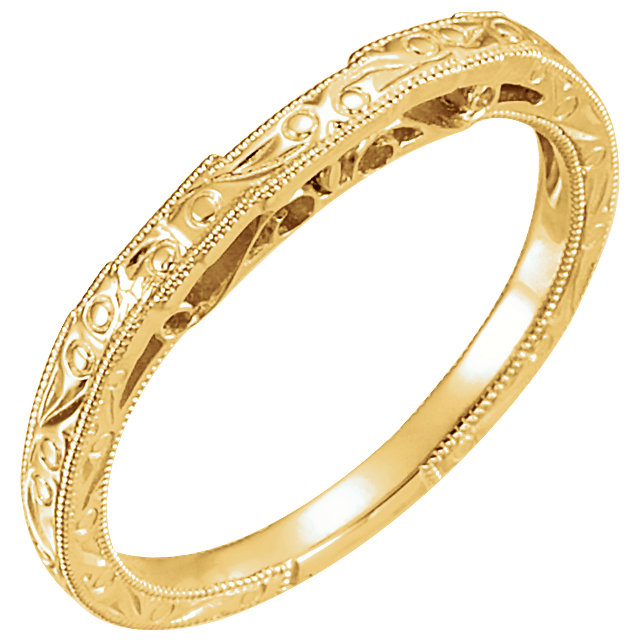 14K Yellow Hand Engraved Band for 6.5mm Round Ring