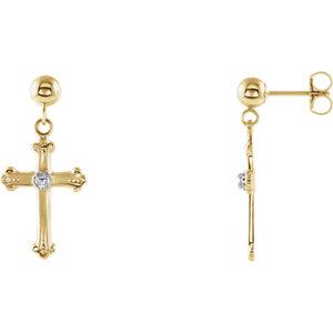 14K Yellow & White Diamond Cross & Ball Earrings