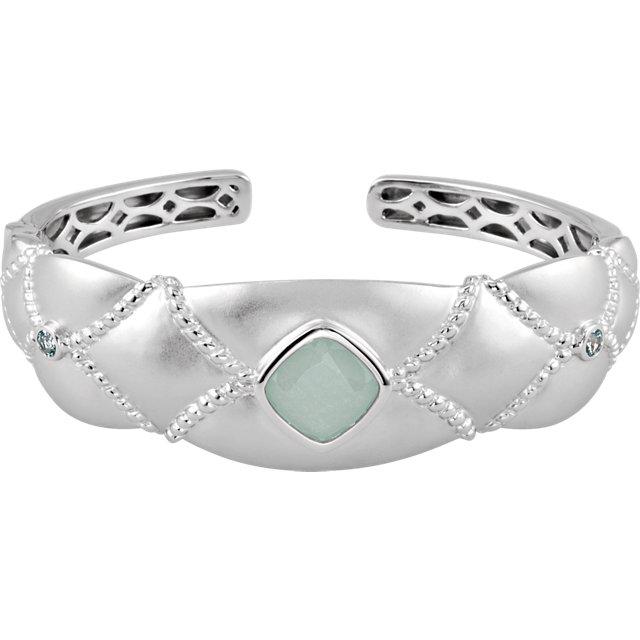 Sterling Silver Rose De France Amethyst & Pink Tourmaline Cuff Bracelet