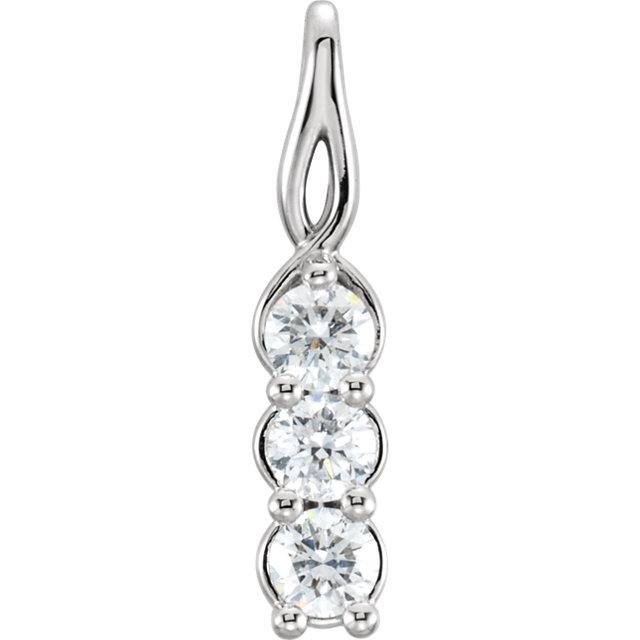 14K White 1/2 CTW Diamond 3-Stone Pendant