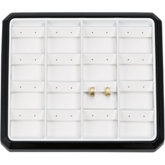 16 Pair Flap Earring Stackable Tray, Black with White Pads