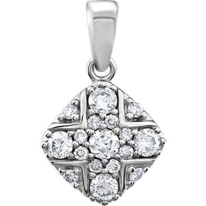 14K White 1/3 CTW Diamond Pendant