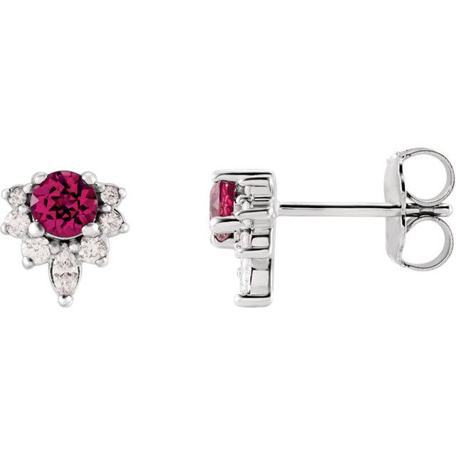 14K White Pink Tourmaline & 1/6 CTW Diamond Earrings