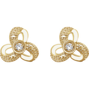 14K Yellow 1/6 CTW Diamond Knot Earrings