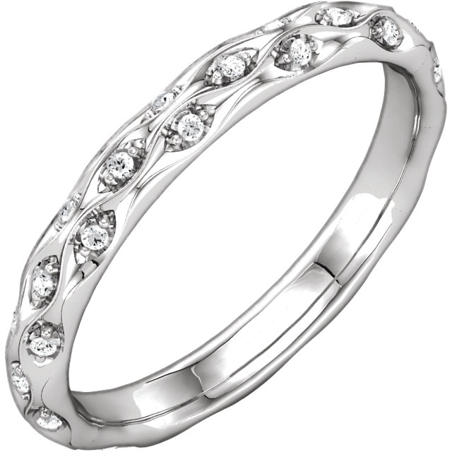 14K White 1/5 CTW Diamond Sculptural-Inspired Eternity Band Size 7