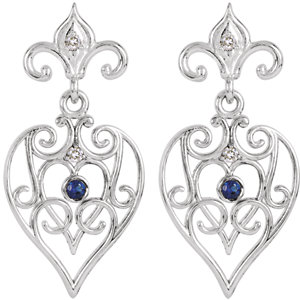 Sterling Silver with 14K White Post Sapphire & .04 CTW Diamond Earrings