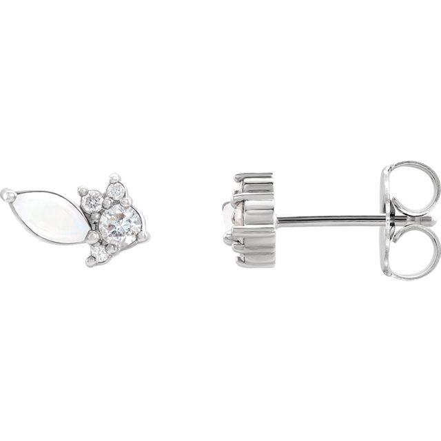 14K White Australian Opal & 1/6 CTW Diamond Cluster Earrings