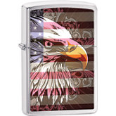 Zippo® Bald Eagle & American Flag Brushed Chrome Lighter