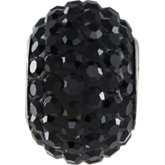 Kera® Roundel Bead with Pave' Jet Crystals