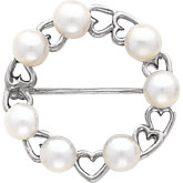 Heart Circle Pearl Brooch