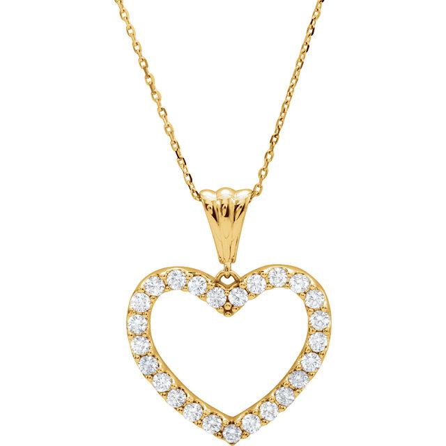 14K Yellow 1 CTW Diamond Heart 18