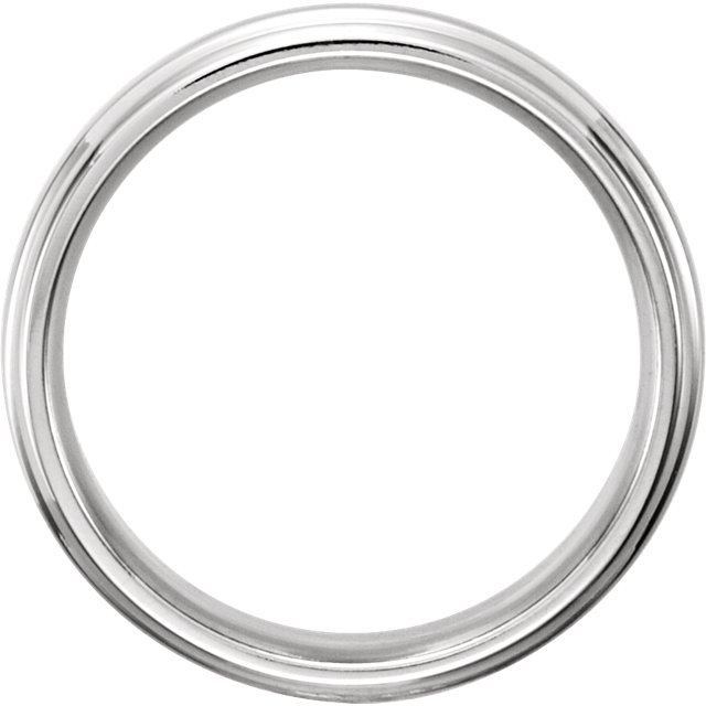 Platinum 6mm Grooved Band Size 9