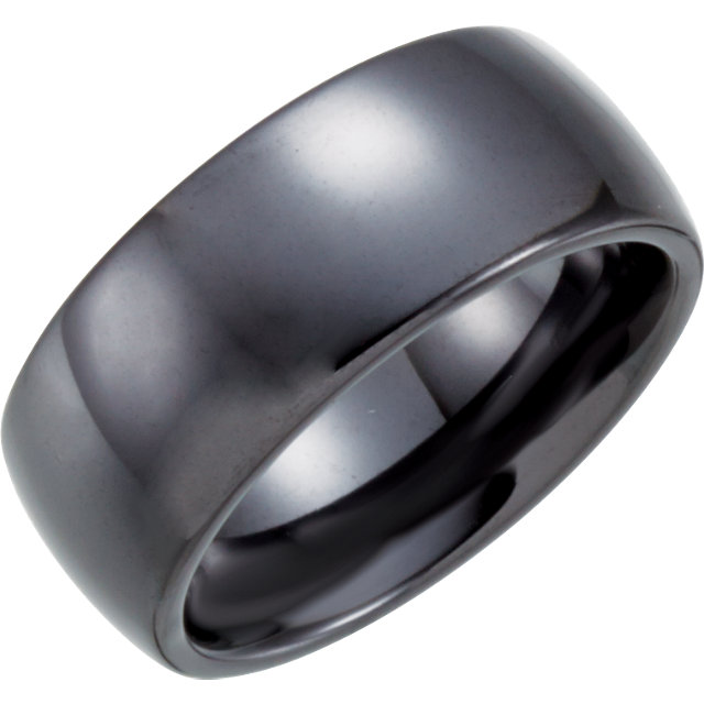 Black Ceramic 8mm Domed Band Size 4.5