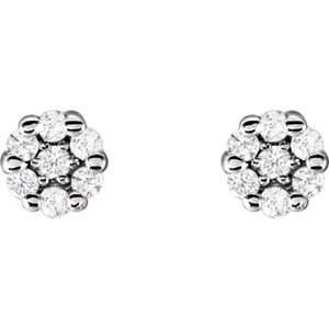 14K White 1/10 CTW Diamond Earrings