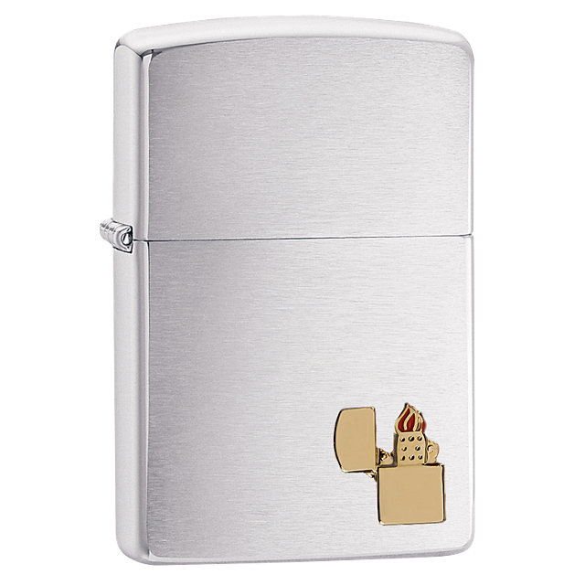 Zippo® Lighter Emblem Attached Brushed Chrome Lighter