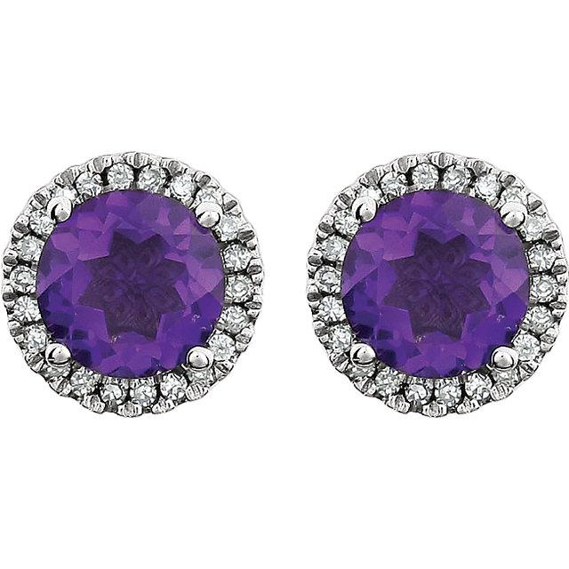 14K White Amethyst & 1/8 CTW Diamond Earrings