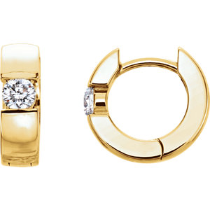 14K Yellow 1/4 CTW Diamond Hinged Earrings