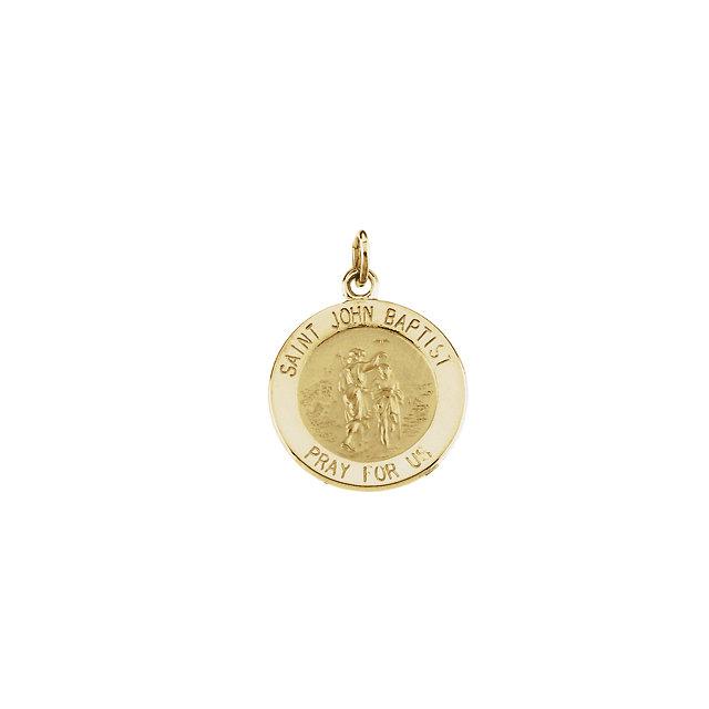 14K Yellow 15mm Round St. John the Baptist Medal