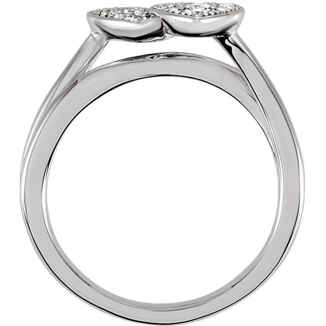 Sterling Silver Cubic Zirconia Double Heart Ring Size 6