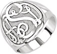 Sterling Silver 18 mm 3-Letter Script Monogram Ring
