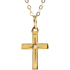 14K Yellow Diamond Youth Cross 15