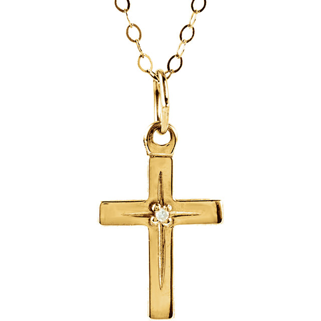 14K Yellow Diamond Youth Cross 15