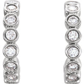 Bezel Set J-Hoop Earrings