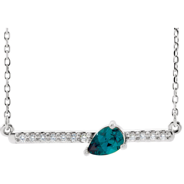 Sterling Silver Chatham® Lab-Created Alexandrite & 1/10 CTW Diamond Bar 16