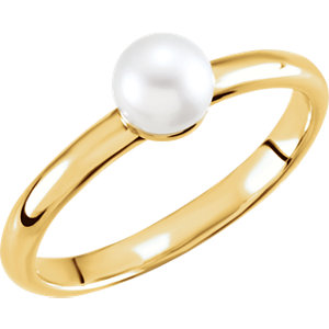 14K Yellow 5.5-6mm Freshwater Cultured Pearl Ring
