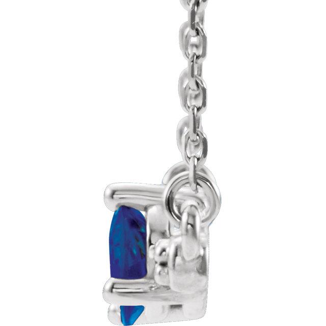 Platinum Blue Sapphire & 1/10 CTW Diamond 18