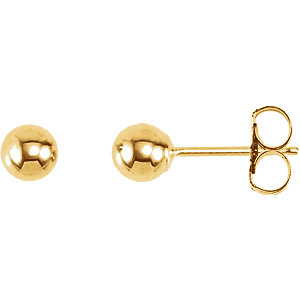 14K Yellow 3mm Ball Earrings