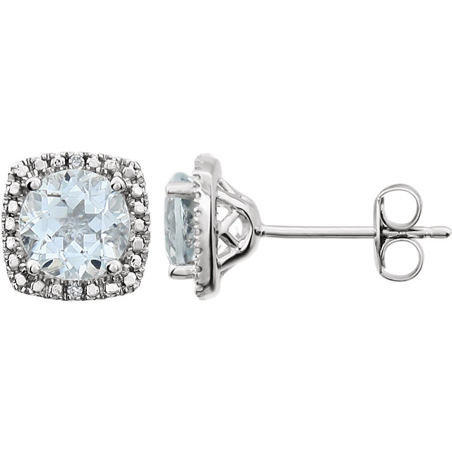 Sterling Silver 6 mm Aquamarine & .015 CTW Diamond Earrings
