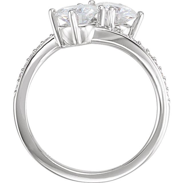 14K White Forever One™ Moissanite & 1/5 CTW Diamond Ring