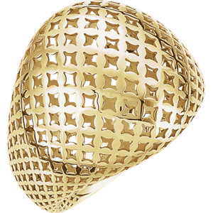 Fashion Rings , 14K Yellow Pierced-Style Dome Ring