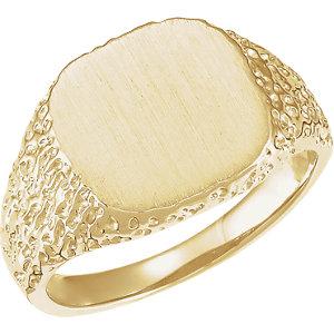 Fashion Rings , 18K Palladium White 13mm Men's Square Signet Ring