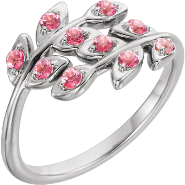 14K White Baby Pink Topaz Leaf Design Ring