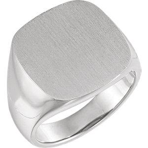 Fashion Rings , 14K White 18mm Men's Signet Ring with Brush Top Finish