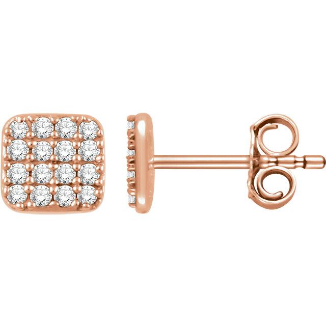 14K Rose 1/5 CTW Diamond Square Cluster Earrings