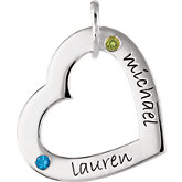 Posh Mommy® Medium Engravable Heart Loop Pendant