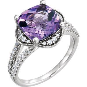 Fashion Rings , Platinum Amethyst & 3/8 CTW Diamond Ring