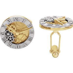 Cuff Links ,14K White & Yellow Clock Design Cuff Links-Pair