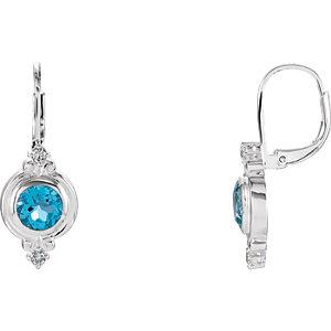 Sterling Silver Swiss Blue Topaz & CZ Earrings